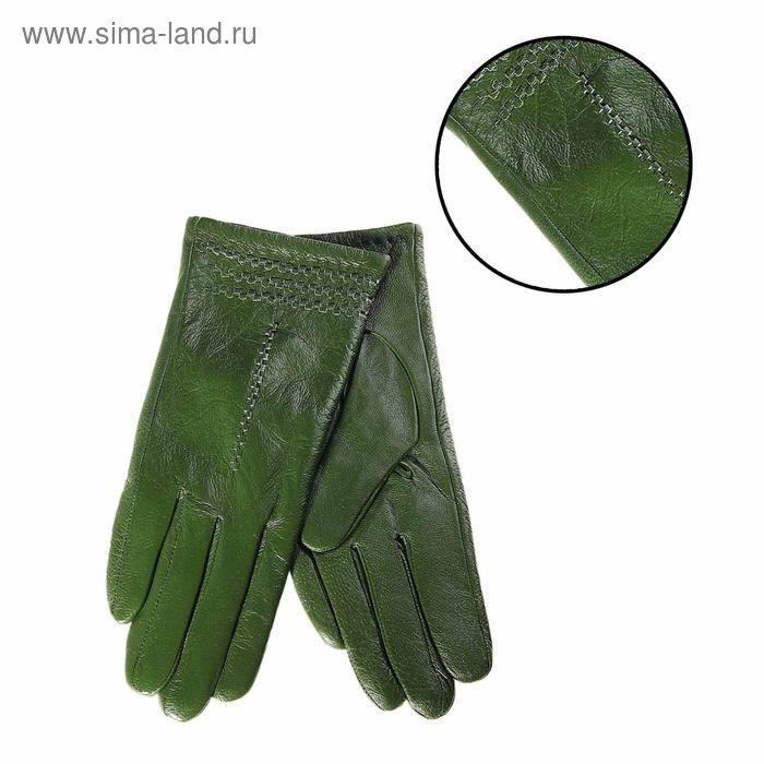"""Перчатки женские """"Кэлли"""" перфорация, подклад трикотаж, р-р 8,5, длина-24,5см, болотный"""