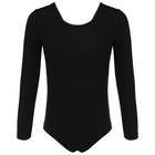 Купальник-боди гимнастический, х/б, длинный рукав, размер 36, цвет чёрный