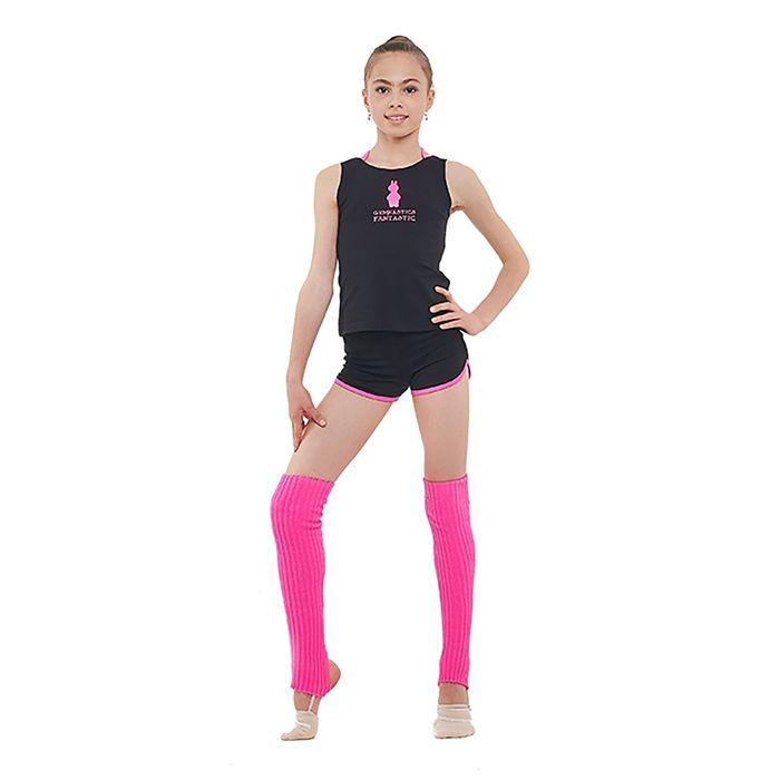 Топ гимнастический «Северная корона», размер 30, цвет чёрный/розовый