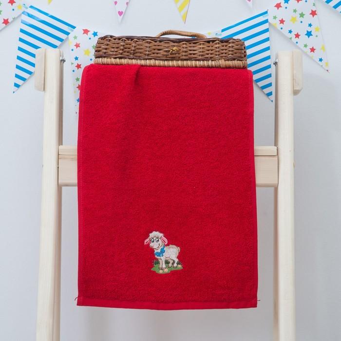 """Махровое полотенце """"Овечка"""", размер 30х60 см, цвет красный"""