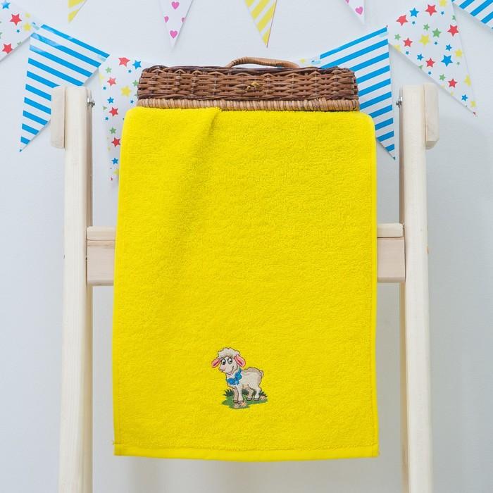 "Махровое полотенце ""Овечка"", размер 30х60 см, цвет жёлтый"