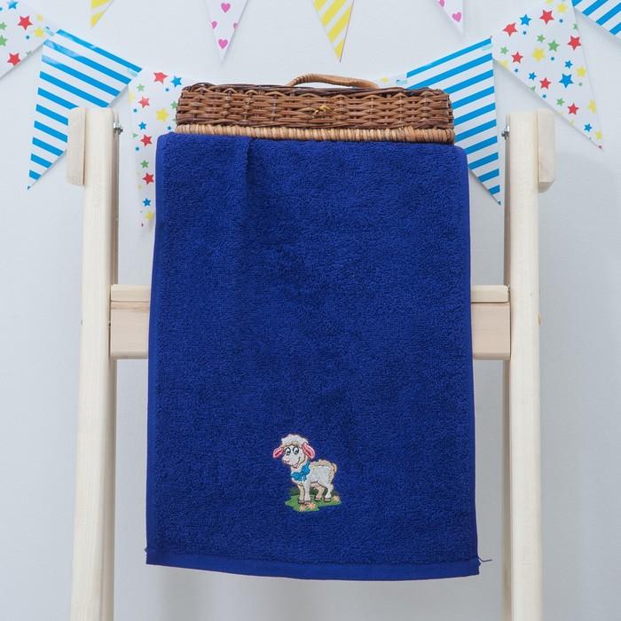 """Махровое полотенце """"Овечка"""", размер 30х60 см, цвет синий"""