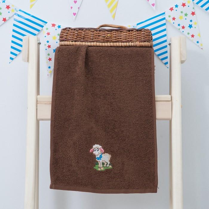 """Махровое полотенце """"Овечка"""", размер 30х60 см, цвет коричневый"""