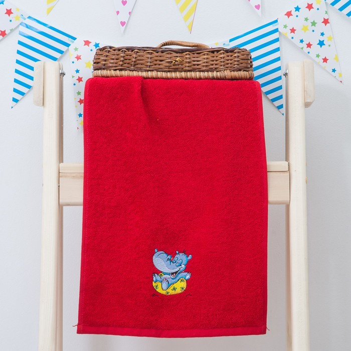 """Махровое полотенце """"Пора купаться"""", размер 30х60 см, цвет красный"""