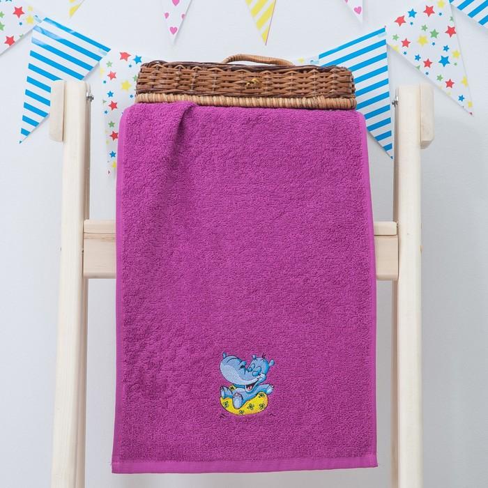 "Махровое полотенце ""Пора купаться"", размер 30х60 см, цвет фуксия"