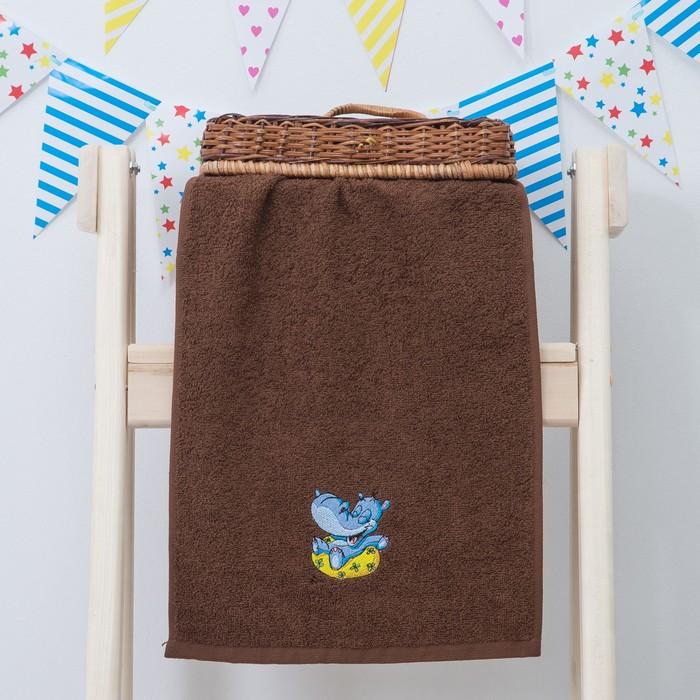 """Махровое полотенце """"Пора купаться"""", размер 30х60 см, цвет коричневый"""