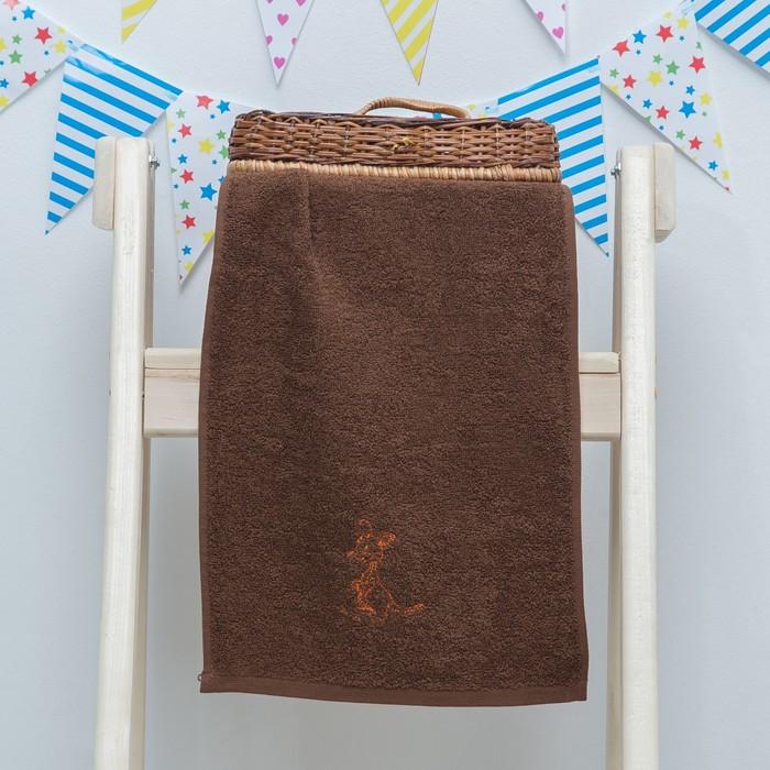 """Махровое полотенце """"Кенгуру"""", размер 30х60 см, цвет коричневый"""