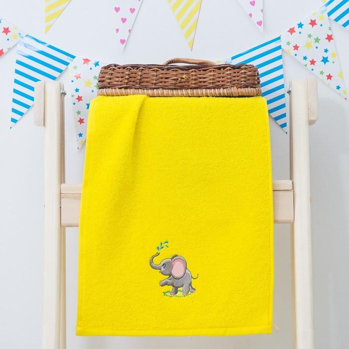 """Махровое полотенце """"Слоник"""", размер 30х60 см, цвет жёлтый"""