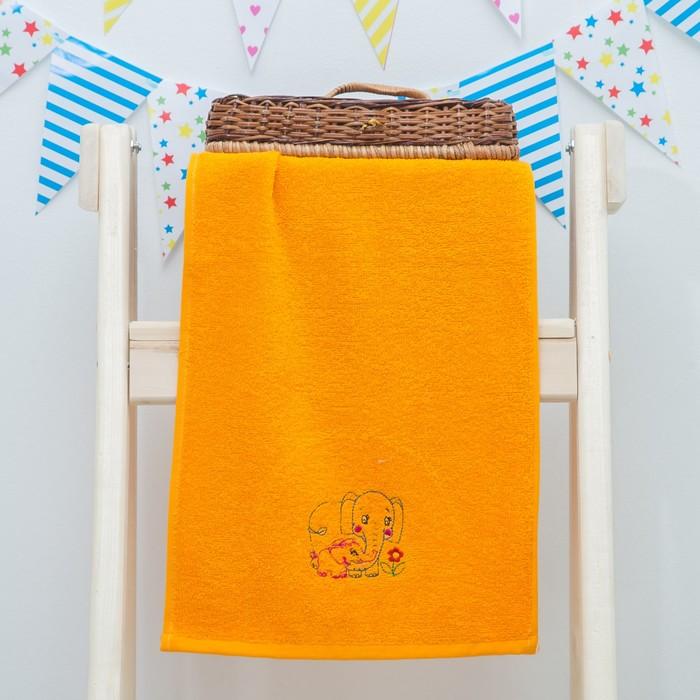 """Махровое полотенце """"Слоники"""", размер 30х60 см, цвет оранжевый"""