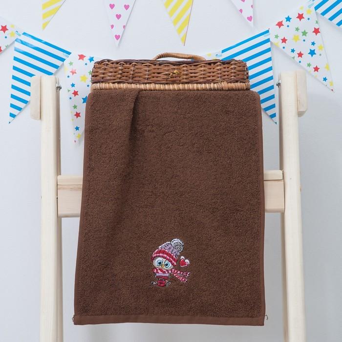 """Махровое полотенце """"Уютная совушка"""", размер 30х60 см, цвет коричневый"""
