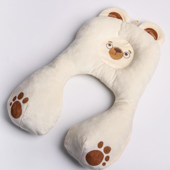 Подушка дорожная детская «Медвежонок» ортопедическая, цвет молочный
