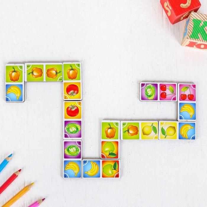 Домино «Овощи, фрукты», 28 шт., рисунок наклеен, в коробке