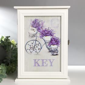 """Ключница дерево """"Горшочки с лавандой на велосипеде"""" 30х21,7х8 см"""