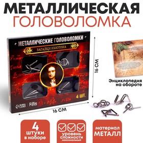 """Головоломка металлическая """"Загадки Ньютона"""" набор 4 шт."""