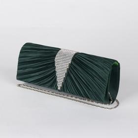 Клатч женский, отдел на магните, длинная цепь, цвет зелёный