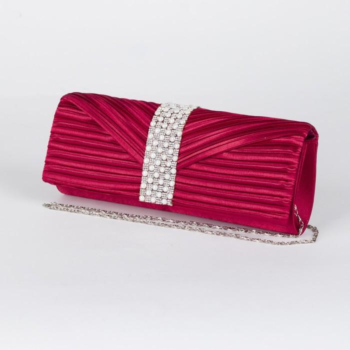 Клатч женский, отдел на магните, длинная цепь, цвет бордовый - фото 496708