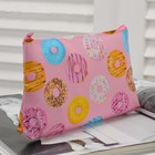 Cosmetic bag simple Donuts 18*1*10 the division with zip, pink