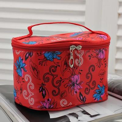 Косметичка-сундук «Кружева», отдел на молнии, с зеркалом, цвет красный