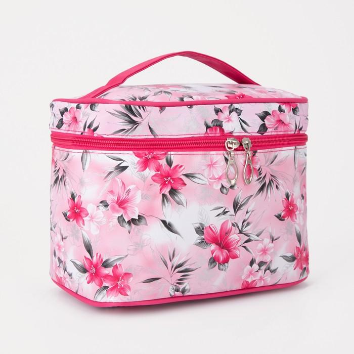 Косметичка-сундук «Цветы», отдел на молнии, с зеркалом, цвет розовый
