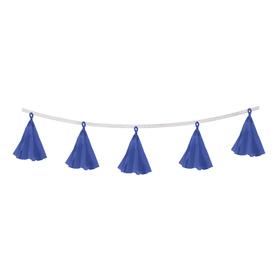 Гирлянда-тассел «Кисточки», в наборе 5 кисточек, цвет синий