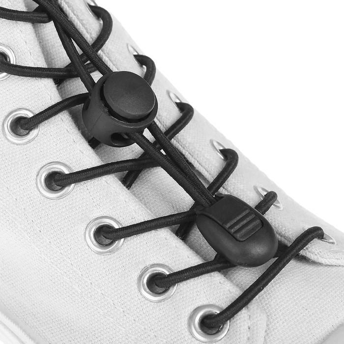 Шнурки для обуви, с фиксатором, эластичные, d = 3 мм, 100 см, пара, цвет чёрный