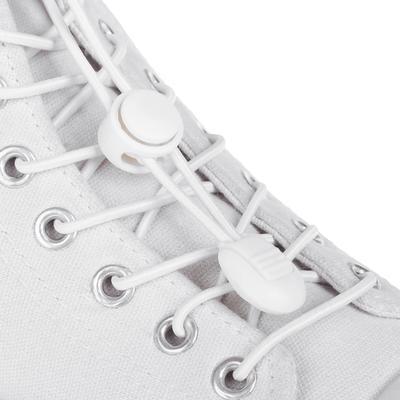 Шнурки для обуви, пара, круглые, с фиксатором, эластичные, d = 3 мм, 100 см, цвет белый