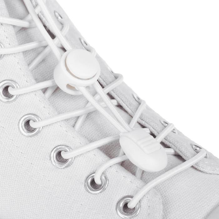 Шнурки для обуви, круглые, с фиксатором, эластичные, d = 3 мм, 100 см, пара, цвет белый