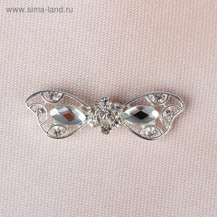 Декоративная застёжка, 5х1,5см, цвет серебряный