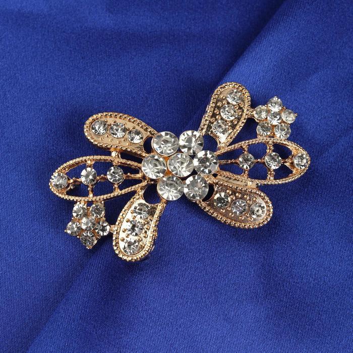 Декоративная застёжка «Цветок», 6 × 3,5 см, цвет золотой