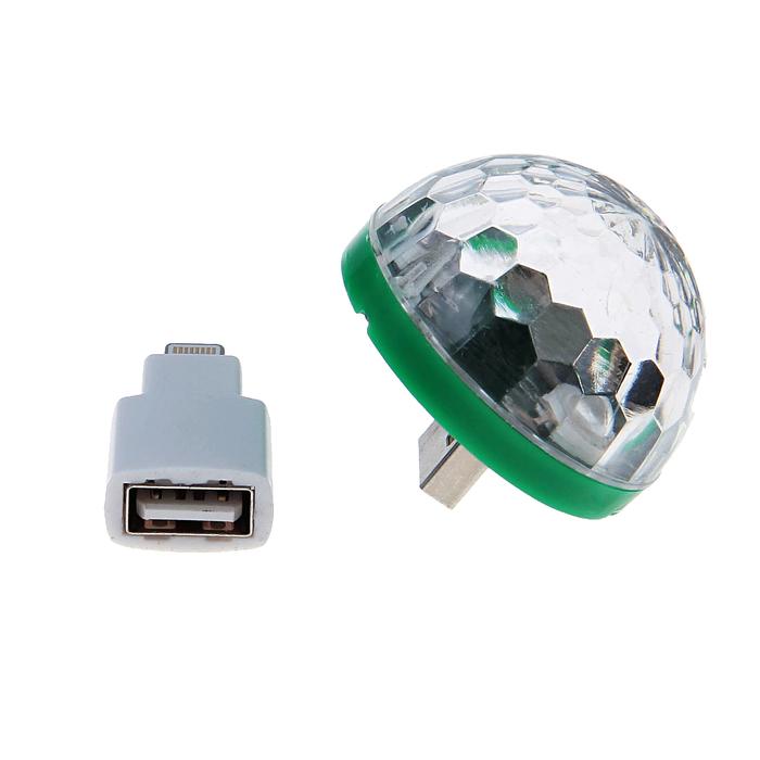 Световой прибор хрустальный шар USB - iPhone 5/6/7, реагирует на звук