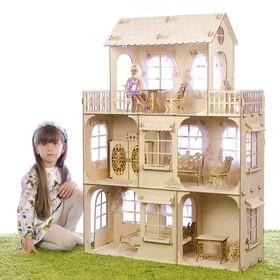 Конструктор «Большой кукольный дом», без мебели и текстиля, фанера — 3 мм, этаж: 33 см