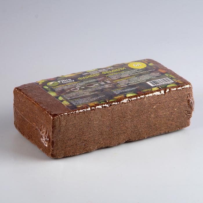 Субстрат кокосовый в блоке, 21 х 11 х 7 см, 6 л, индивидуальная упаковка
