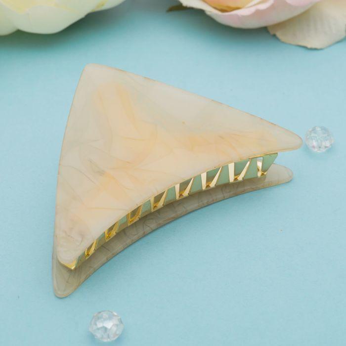 """Краб для волос """"Версаль"""" 9 см треугольник кремовый - фото 448770175"""