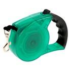 Рулетка полупрозрачная с резиновой ручкой, лента 3м, до 8 кг, пластик, зелёная