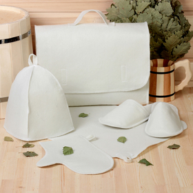 Набор банный портфель 5 предметов, белый, без вышивки, первый сорт