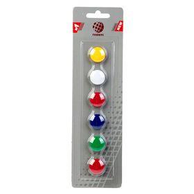 Магниты для досок 20 мм, 6 штук, GLOBUS цветные, в блистере