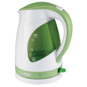 Чайник электрический BBK EK1700P, 2200 Вт, 1.7 л, бело-зеленый