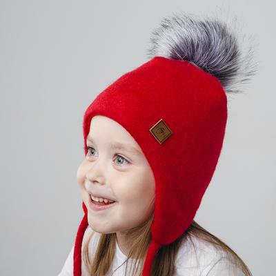 Зимняя шапка  детская, размер  42-46 см, цвет красный 3-20-3