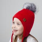 Зимняя шапка  детская, размер  46-50 см, цвет красный 3-20-3