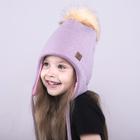 Зимняя шапка для девочки, размер  54-58 см, цвет пыльно-розовый 3-20-7