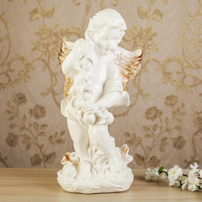 """Статуэтка """"Ангел с яблоками"""" позолота, 48 см"""