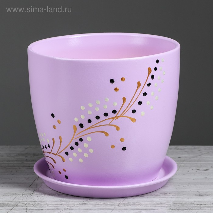 """Кашпо """"Осень"""" 3,0 л, художественная дорисовка на фиолетовом, лак, микс"""