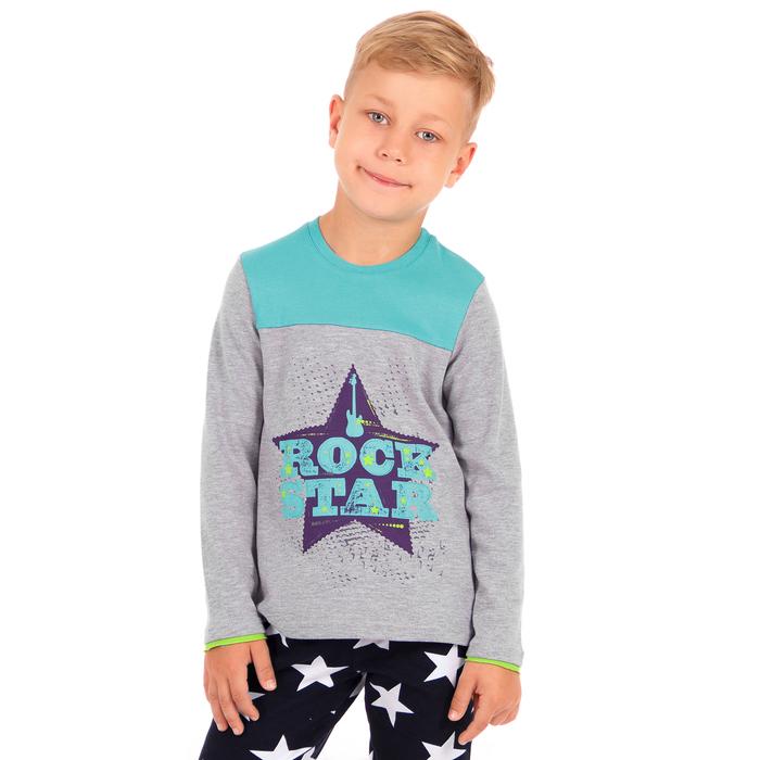 """Джемпер для мальчика """"Импульс"""", рост 98 см (52), цвет серый+бирюза ПДД131070_М"""