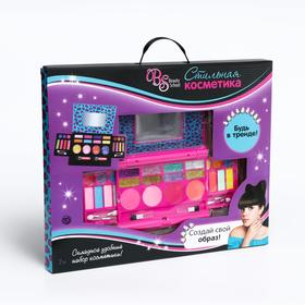 Набор косметики для девочки: тени 16 г, тени с блестками 16 г, блеск для губ 19,2 г, 2 аппликатора