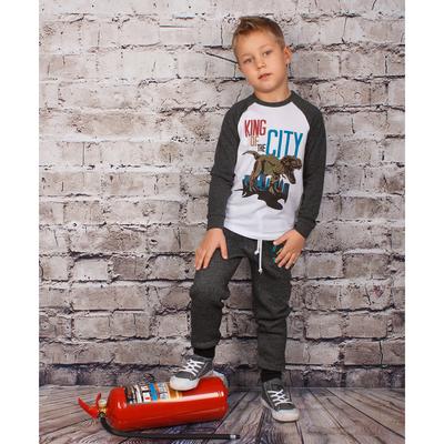 """Брюки для мальчика """"Эра динозавров"""", рост 122 см (62), цвет тёмно-серый"""