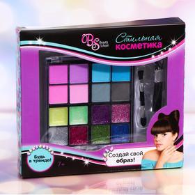 Набор косметики для девочки: тени, 9,6 г + тени с блёстками, 9,6 г + кисть + кисть-аппликатор