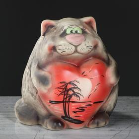 """Копилка """"Кот с сердцем"""", пейзаж, под шамот, серый , 16 см"""