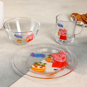 "Набор посуды ""Свинка Пеппа. Морковка"", 3 предмета: кружка 250 мл, салатник 250 мл 13 см , тарелка 19,5 см"