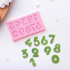 "Молд 7,5х4,5х0,4 см ""Цифры со звездами"", цвет розовый"