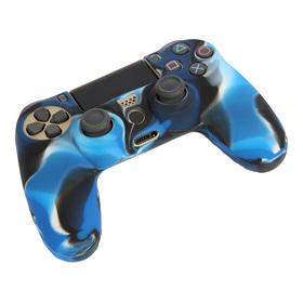 Силиконовый чехол для PS4 Oxion OSC02BLM, синий камуфляжный (OSC02BLM) Ош